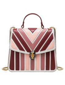 Fashion Red Pu Alloy Stripe Contrast Lock Single Shoulder Bag
