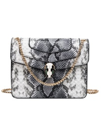 Fashion Black Pu Alloy Snake Lock Buckle Shoulder Bag