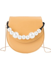 Fashion Yellow Pu Pearl Semi-circular Shoulder Bag