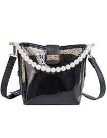 Fashion Black Pvc Pearl Mother Bucket Shoulder Bag