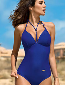 Fashion Blue Sling Open Back One-piece Swimsuit