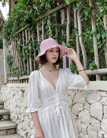 Fashion Pink Raw Fisherman Hat