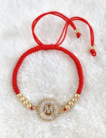 Fashion Red Copper Inlaid Zircon Rope Beaded Letter M Bracelet