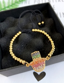 Fashion Gold Copper Inlaid Zircon Rope Beaded Geometric Bracelet
