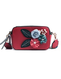 Fashion Red Pu Flower Square Shoulder Bag