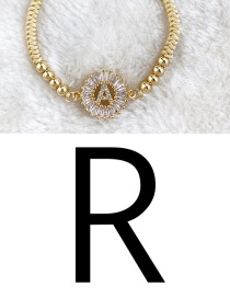 Ginger Yellow Copper Inlaid Zircon Rope Beaded Letter R Bracelet