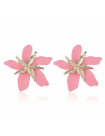 Fashion Pink Alloy Large Flower Earrings
