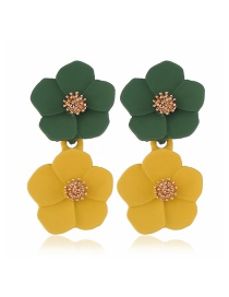 Fashion Green + Yellow Flower Earrings