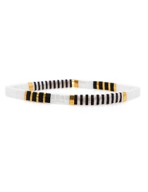 Fashion White + Gold Rice Beads Woven Bracelet