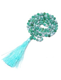 Fashion Green Violent Stone Knotted Tassel Beaded Necklace 6mm