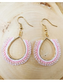 Fashion Pink Oval Rice Beads Woven Large Circle Earrings