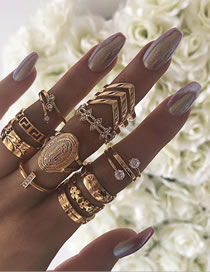 Fashion Gold English Virgin Mary Diamond Pattern Leaf Ring 13 Piece Set