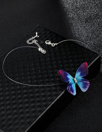 Fashion Blue Tulle Feather Butterfly Invisible Fish Line Necklace