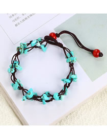 Fashion Green Woven Small Black Rope Turquoise Bracelet Anklet