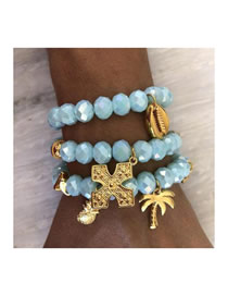 Fashion Gold Beads Coconut Tree Pineapple Shell Cross Bracelet 3 Piece Set