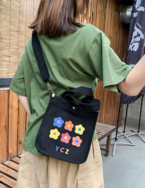 Fashion Black Flower Contrast Canvas Crossbody Tote