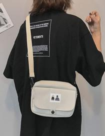 Fashion White Cartoon Canvas Crossbody Shoulder Bag
