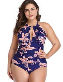 Fashion Blue Print Printed Triangle Pleated Fat One-piece Swimsuit