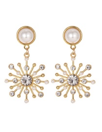 Fashion Gold Alloy Pearl Flower Earrings