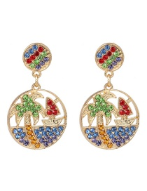 Fashion Green Color Round Coconut Tree Stud Earrings