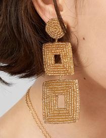 Fashion Brown Beizhu Geometric Earrings