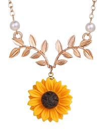 Fashion Gold Sunflower Leaf Flower Necklace