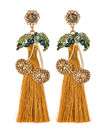 Fashion Ginger Yellow Alloy Studded Cherry Tassel Earrings