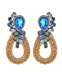 Fashion Blue Alloy-studded Wooden Drop Earrings