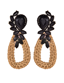 Fashion Black Alloy-studded Wooden Drop Earrings