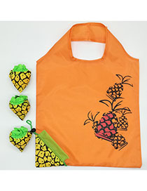 Fashion Pineapple Polyester Folded Fruit Green Bag Shopping Bag