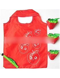 Fashion Red Apple Polyester Folded Fruit Green Bag Shopping Bag