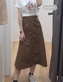 Fashion Brown High-waisted Cotton Front-length Dress