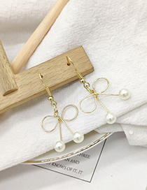 Fashion Gold Pearl Bow Sue Earrings