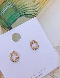 Fashion Gold Pearl-studded Geometric Round Stitch Earrings