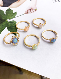 Fashion Gold Alloy Resin Ring Set