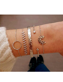 Fashion Gold Alloy Willow Round Semicircular Bracelet Five-piece