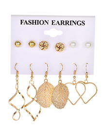 Fashion Gold Alloy Pearl Stud Earrings Set