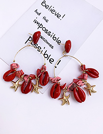 Fashion Red Alloy Resin Shell Earrings