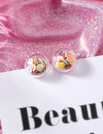 Fashion Fruit Section Fruit Smiley Love Transparent Ball Earrings