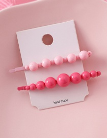 Fashion Pink + Rose Candy Color Set Beads Hit Color Hair Clips