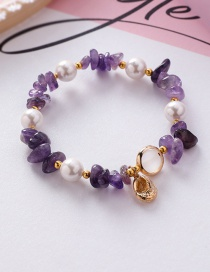 Fashion Purple Natural Stone Crystal Shaped Irregular Shell Pearl Conch Bracelet