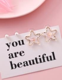 Fashion Pink S925 Silver Needle Star Shell Sequin Pearl Earrings Four-piece