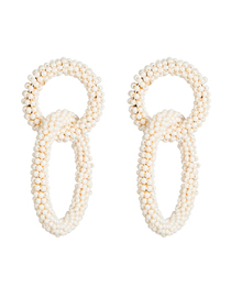 Fashion White Double-layer Size Circle Bead Earrings