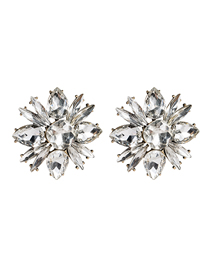 Fashion White Floral Diamond Earrings