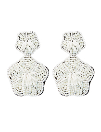 Fashion White Double-layered Floral Velvet Rice Beads Earrings