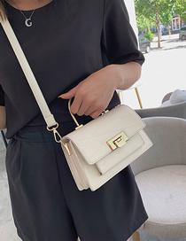Fashion Creamy-white Lingge Single Shoulder Messenger Handbag