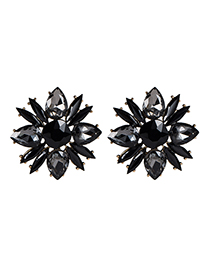 Fashion Black Alloy Water Drop Drill Earring