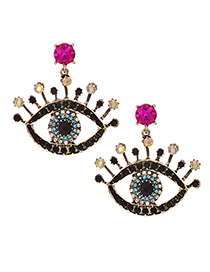 Fashion Rose Red Alloy Diamond Eye Studs