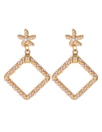 Fashion Gold Alloy Pearl Starfish Square Stud Earrings