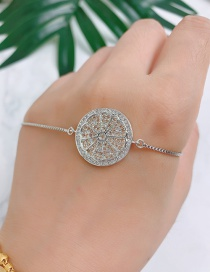 Fashion Silver Copper Inlaid Zircon Flower Bracelet